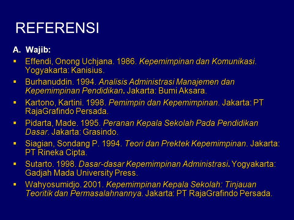 A. Wajib:  Effendi, Onong Uchjana. 1986. Kepemimpinan dan Komunikasi. Yogyakarta: Kanisius.  Burhanuddin. 1994. Analisis Administrasi Manajemen dan