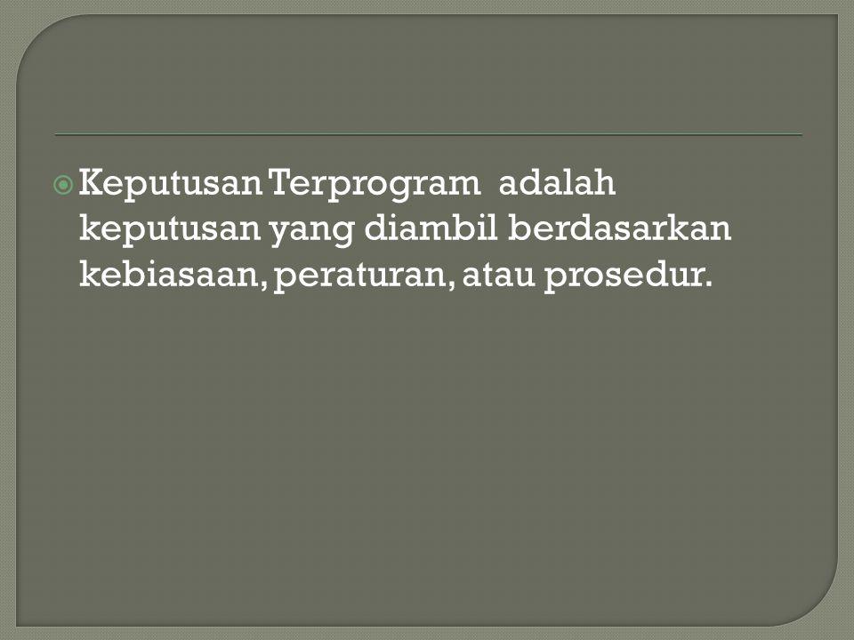  Keputusan Terprogram adalah keputusan yang diambil berdasarkan kebiasaan, peraturan, atau prosedur.