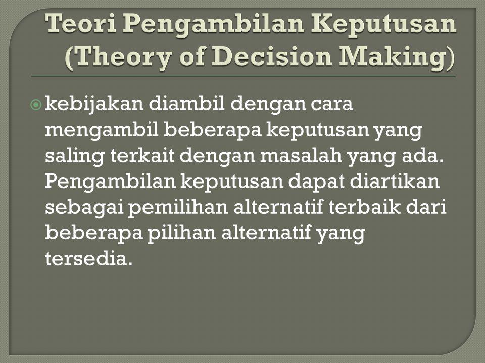  kebijakan diambil dengan cara mengambil beberapa keputusan yang saling terkait dengan masalah yang ada.