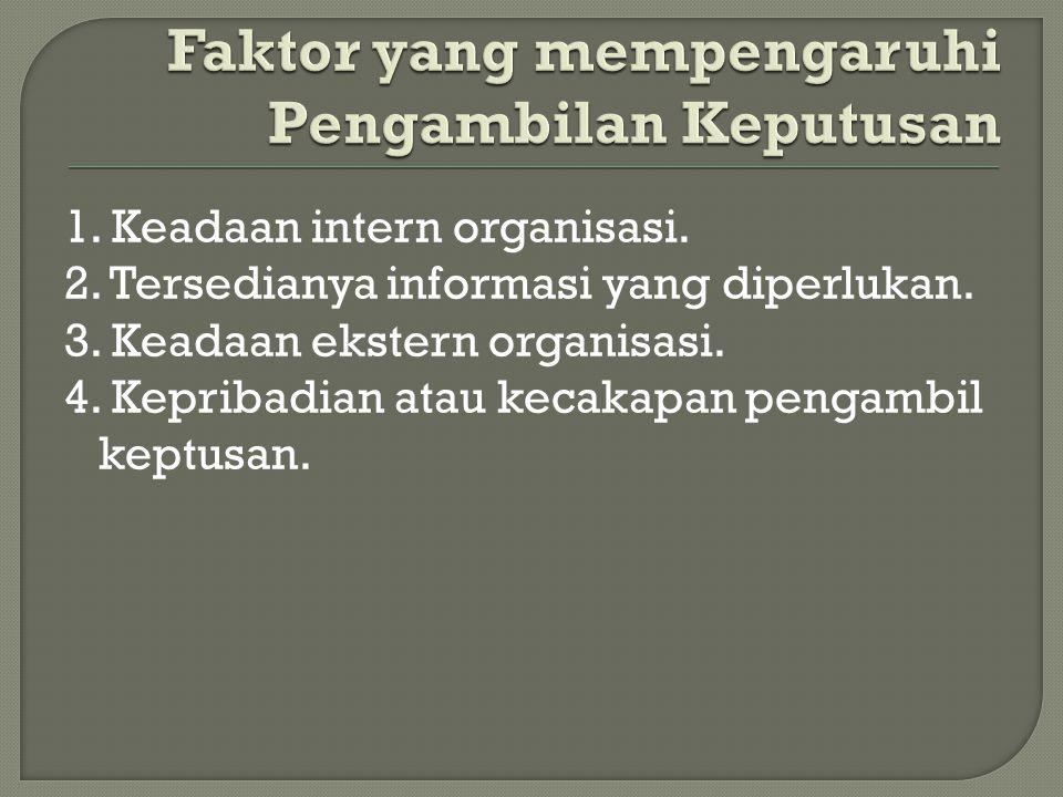 1. Keadaan intern organisasi. 2. Tersedianya informasi yang diperlukan.