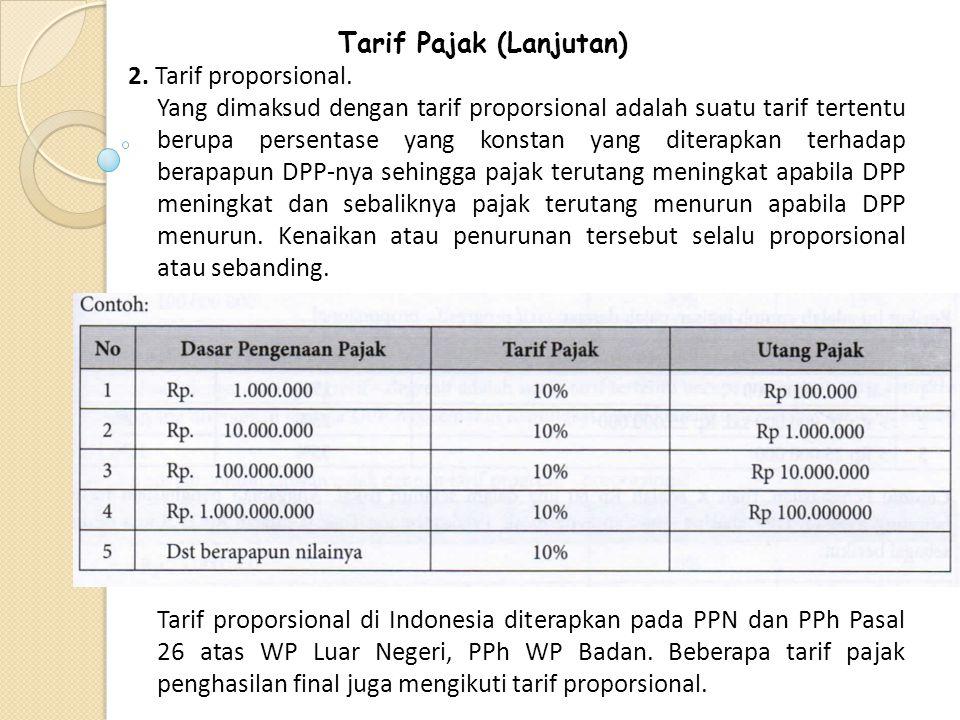 Tarif Pajak (Lanjutan) 2. Tarif proporsional. Yang dimaksud dengan tarif proporsional adalah suatu tarif tertentu berupa persentase yang konstan yang