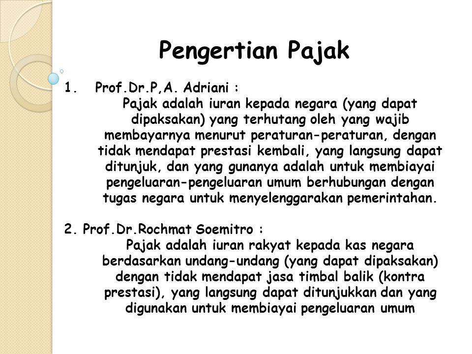 Pengertian Pajak 1.Prof.Dr.P,A. Adriani : Pajak adalah iuran kepada negara (yang dapat dipaksakan) yang terhutang oleh yang wajib membayarnya menurut