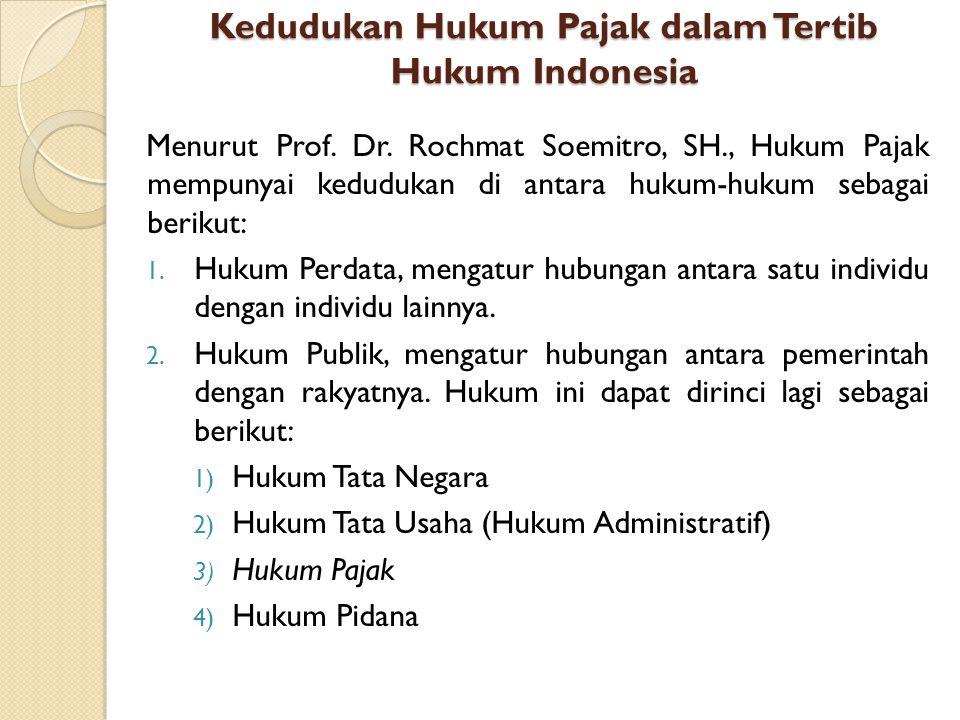 Kedudukan Hukum Pajak dalam Tertib Hukum Indonesia Menurut Prof. Dr. Rochmat Soemitro, SH., Hukum Pajak mempunyai kedudukan di antara hukum-hukum seba