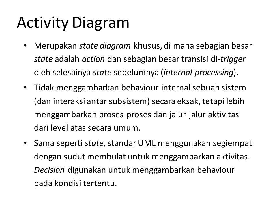 Activity Diagram Untuk mengilustrasikan proses-proses paralel (fork dan join) digunakan titik sinkronisasi yang dapat berupa titik, garis horizontal atau vertikal.