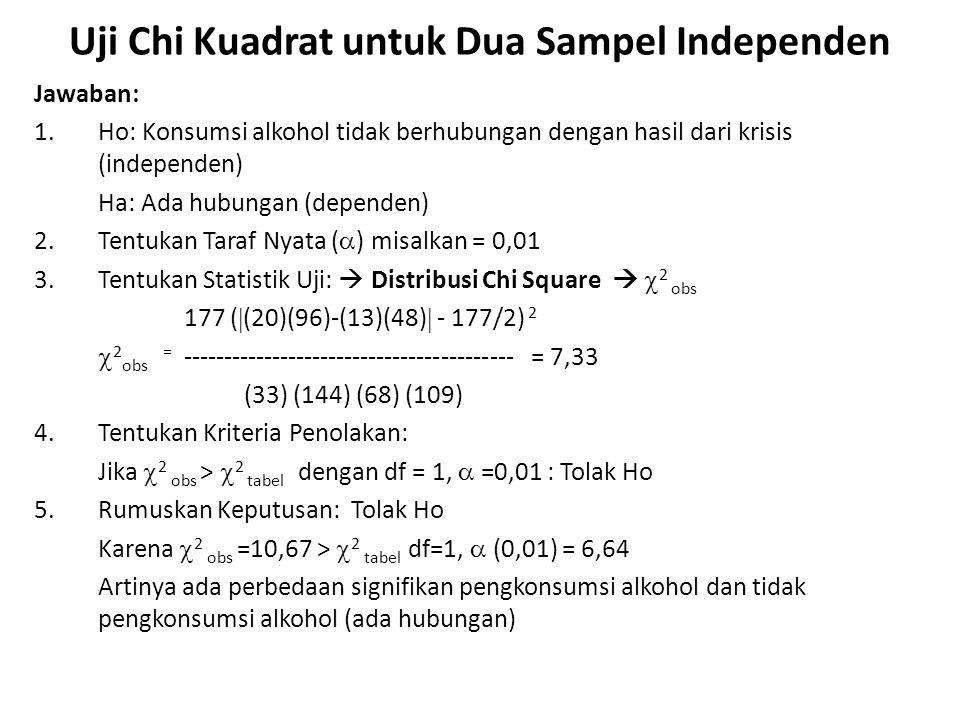 Jawaban: 1.Ho: Konsumsi alkohol tidak berhubungan dengan hasil dari krisis (independen) Ha: Ada hubungan (dependen) 2.Tentukan Taraf Nyata (  ) misal