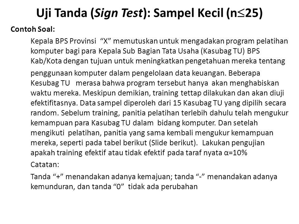 """Uji Tanda (Sign Test): Sampel Kecil (n  25) Contoh Soal: Kepala BPS Provinsi """"X"""" memutuskan untuk mengadakan program pelatihan komputer bagi para Kep"""