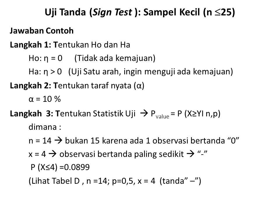 Uji Tanda (Sign Test ): Sampel Kecil (n  25) Jawaban Contoh Langkah 1: Tentukan Ho dan Ha Ho: η = 0 (Tidak ada kemajuan) Ha: η > 0 (Uji Satu arah, in