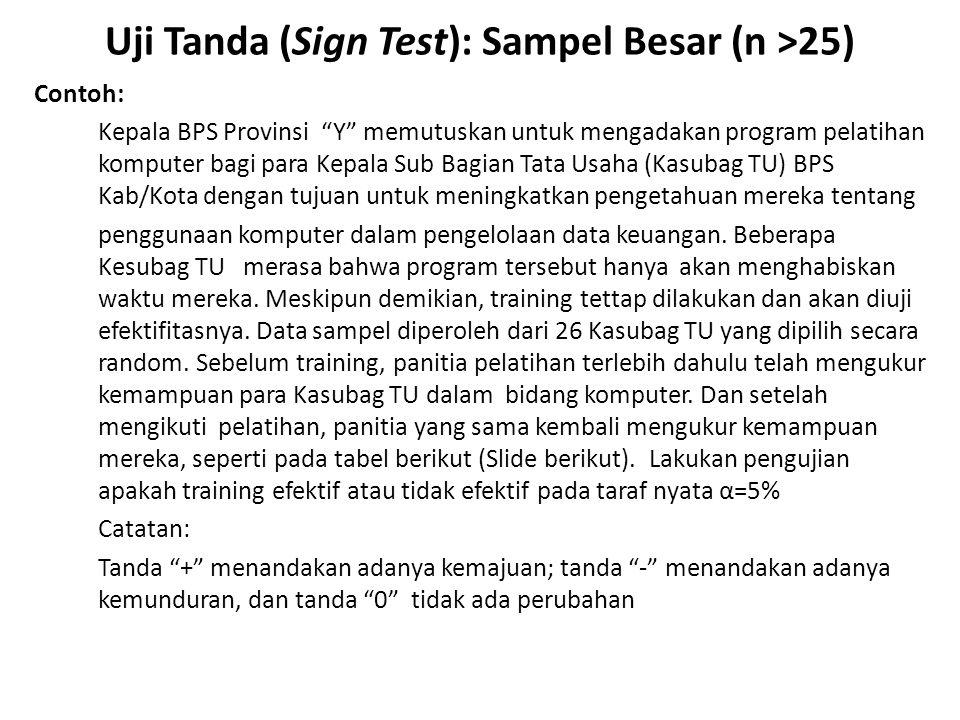 """Uji Tanda (Sign Test): Sampel Besar (n >25) Contoh: Kepala BPS Provinsi """"Y"""" memutuskan untuk mengadakan program pelatihan komputer bagi para Kepala Su"""