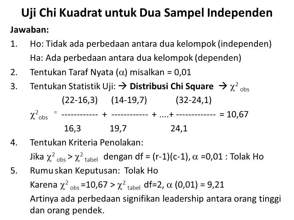  Rumus Statistik Uji untuk Tabel Kontigensi 2x2 Hipotesis nol bahwa kelompok yang diambil sampel secara acak dari dua populasi yang sama dapat diuji dengan: Persamaan 2: dengan df =1 Group Variabel12Combined 1AB(A+B) 2CD (C+D) Total(A+C)(B+D)N Dengan Tabel Kontigensi 2x2 seperti berikut: