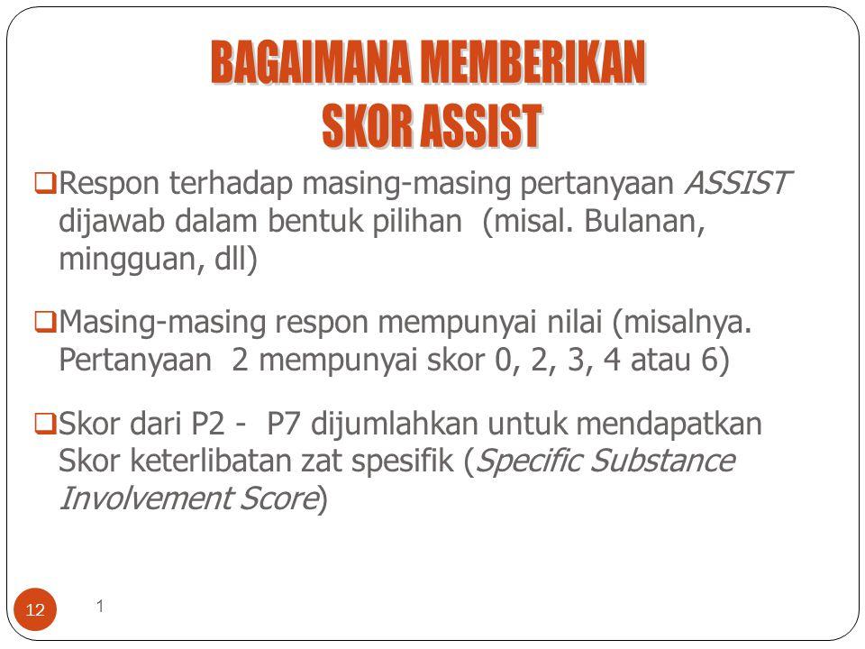 1 12  Respon terhadap masing-masing pertanyaan ASSIST dijawab dalam bentuk pilihan (misal. Bulanan, mingguan, dll)  Masing-masing respon mempunyai n