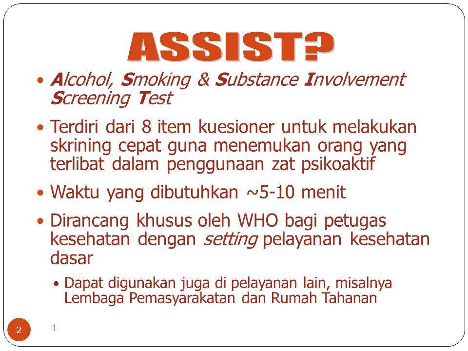 1 2 Alcohol, Smoking & Substance Involvement Screening Test Terdiri dari 8 item kuesioner untuk melakukan skrining cepat guna menemukan orang yang ter