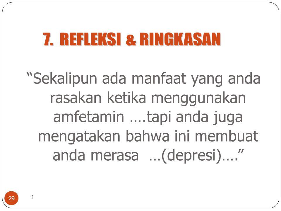 1 29 Sekalipun ada manfaat yang anda rasakan ketika menggunakan amfetamin ….tapi anda juga mengatakan bahwa ini membuat anda merasa …(depresi)….