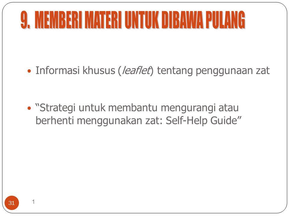 1 31 Informasi khusus (leaflet) tentang penggunaan zat Strategi untuk membantu mengurangi atau berhenti menggunakan zat: Self-Help Guide