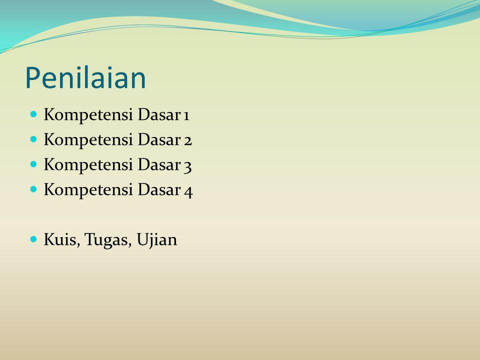 Penilaian Kompetensi Dasar 1 Kompetensi Dasar 2 Kompetensi Dasar 3 Kompetensi Dasar 4 Kuis, Tugas, Ujian