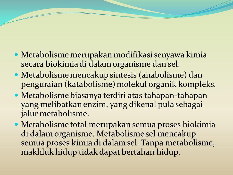 Metabolisme merupakan modifikasi senyawa kimia secara biokimia di dalam organisme dan sel. Metabolisme mencakup sintesis (anabolisme) dan penguraian (