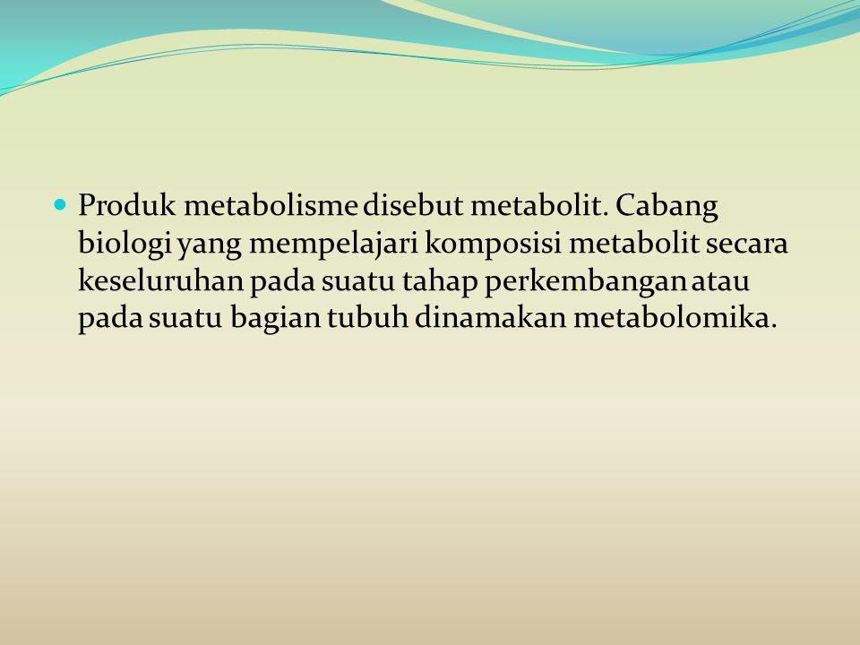 Produk metabolisme disebut metabolit. Cabang biologi yang mempelajari komposisi metabolit secara keseluruhan pada suatu tahap perkembangan atau pada s