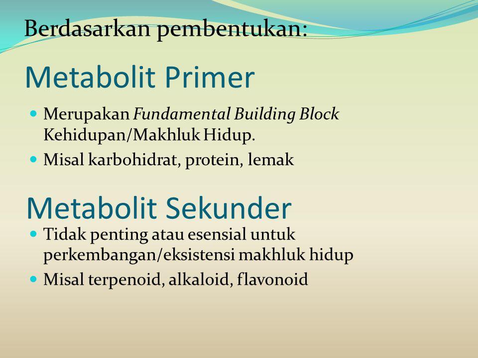 Metabolit Primer Merupakan Fundamental Building Block Kehidupan/Makhluk Hidup. Misal karbohidrat, protein, lemak Tidak penting atau esensial untuk per