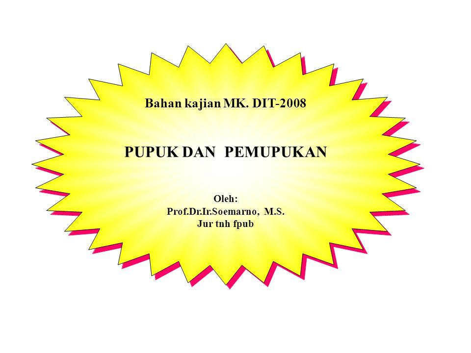 Bahan kajian MK. DIT-2008 PUPUK DAN PEMUPUKAN Oleh: Prof.Dr.Ir.Soemarno, M.S. Jur tnh fpub Bahan kajian MK. DIT-2008 PUPUK DAN PEMUPUKAN Oleh: Prof.Dr