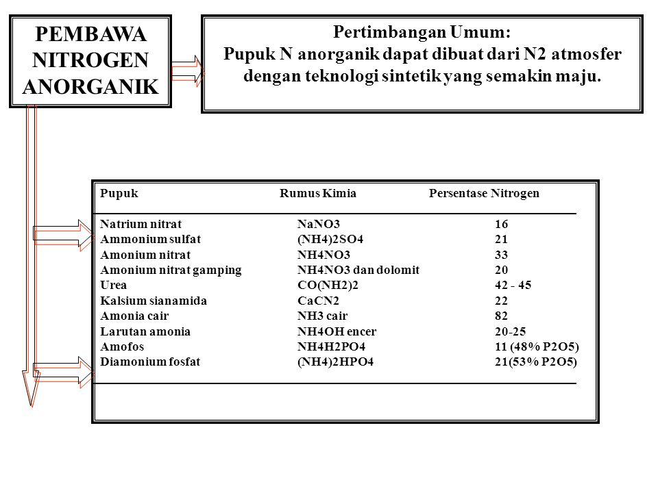 PEMBAWA NITROGEN ANORGANIK Pertimbangan Umum: Pupuk N anorganik dapat dibuat dari N2 atmosfer dengan teknologi sintetik yang semakin maju. Pupuk Rumus