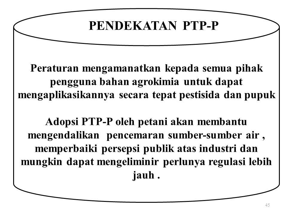 45 Peraturan mengamanatkan kepada semua pihak pengguna bahan agrokimia untuk dapat mengaplikasikannya secara tepat pestisida dan pupuk Adopsi PTP-P oleh petani akan membantu mengendalikan pencemaran sumber-sumber air, memperbaiki persepsi publik atas industri dan mungkin dapat mengeliminir perlunya regulasi lebih jauh.