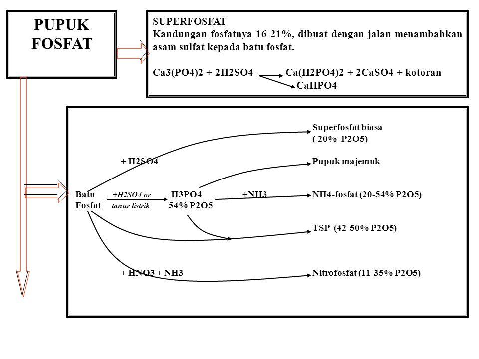 PUPUK FOSFAT SUPERFOSFAT Kandungan fosfatnya 16-21%, dibuat dengan jalan menambahkan asam sulfat kepada batu fosfat. Ca3(PO4)2 + 2H2SO4 Ca(H2PO4)2 + 2