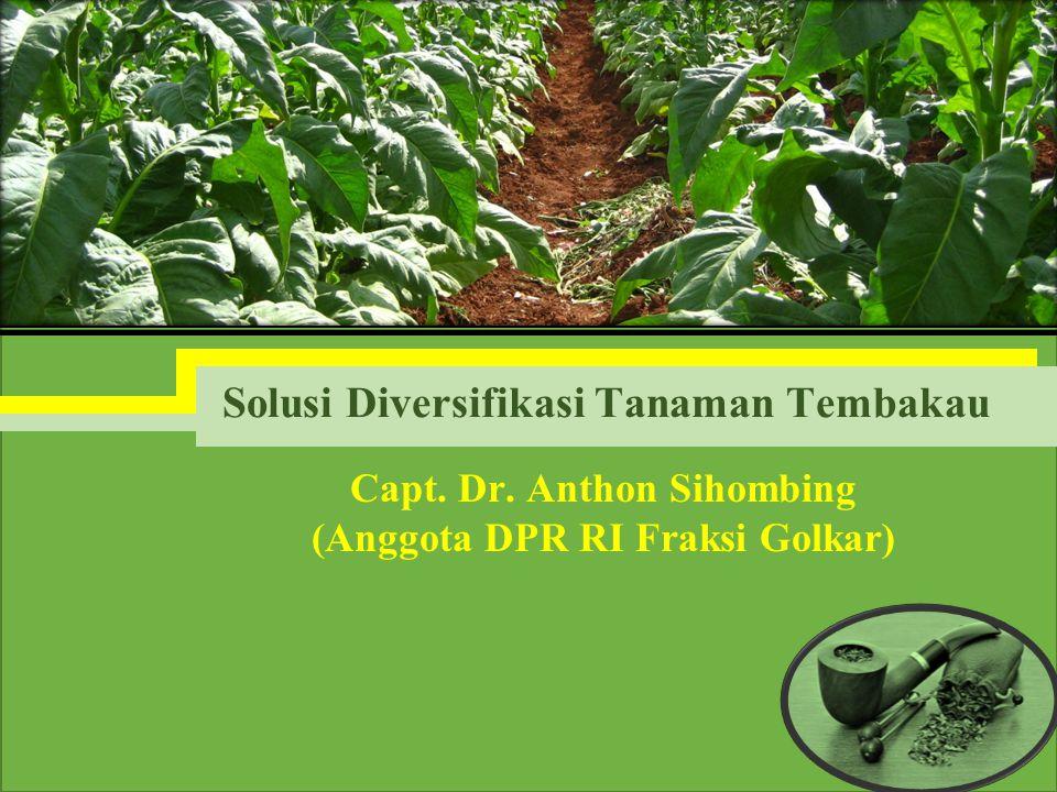 Capt. Dr. Anthon Sihombing (Anggota DPR RI Fraksi Golkar) Solusi Diversifikasi Tanaman Tembakau