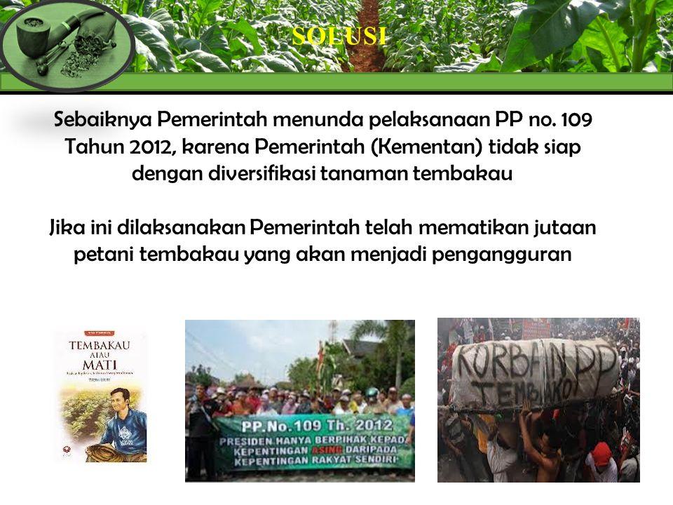SOLUSI Sebaiknya Pemerintah menunda pelaksanaan PP no. 109 Tahun 2012, karena Pemerintah (Kementan) tidak siap dengan diversifikasi tanaman tembakau J
