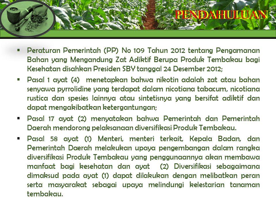  Peraturan Pemerintah (PP) No 109 Tahun 2012 tentang Pengamanan Bahan yang Mengandung Zat Adiktif Berupa Produk Tembakau bagi Kesehatan disahkan Pres