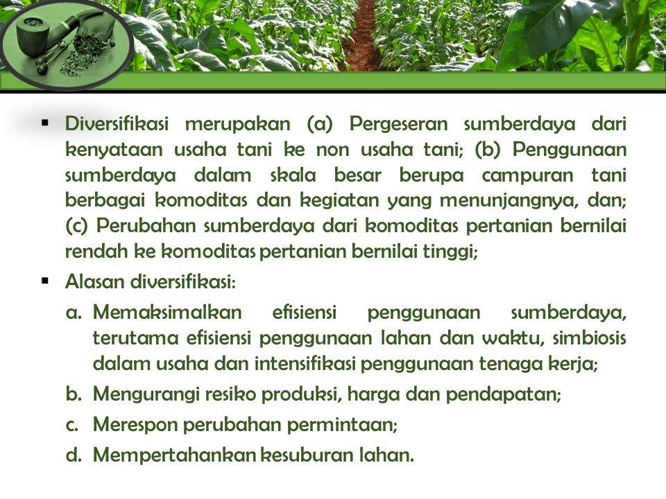  Diversifikasi diperlukan sebagai langkah antisipatif bagi para petani menyusul telah keluarnya Peraturan Pemerintah (PP) Nomor.109/2012, khususnya ayat 17 dan 58 mengenai diversifikasi tanaman tembakau dengan tanaman lain;  Pengembangan diversifikasi produk tembakau merupakan upaya untuk melindungi kelestarian tanaman dan petani tembakau, kualitas tembakau Indonesia rendah, pengendalian konsumsi tembakau serta faktor perubahan iklim; DIVERSIFIKASI TEMBAKAU