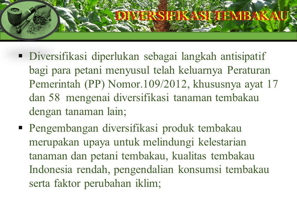  Diversifikasi diperlukan sebagai langkah antisipatif bagi para petani menyusul telah keluarnya Peraturan Pemerintah (PP) Nomor.109/2012, khususnya a