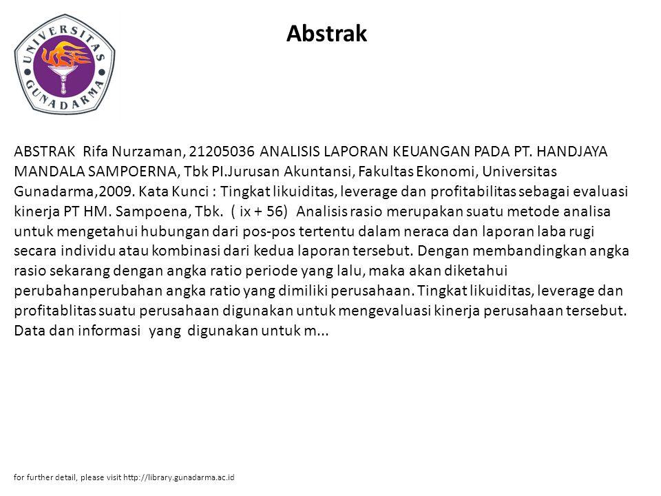 Abstrak ABSTRAK Rifa Nurzaman, 21205036 ANALISIS LAPORAN KEUANGAN PADA PT.