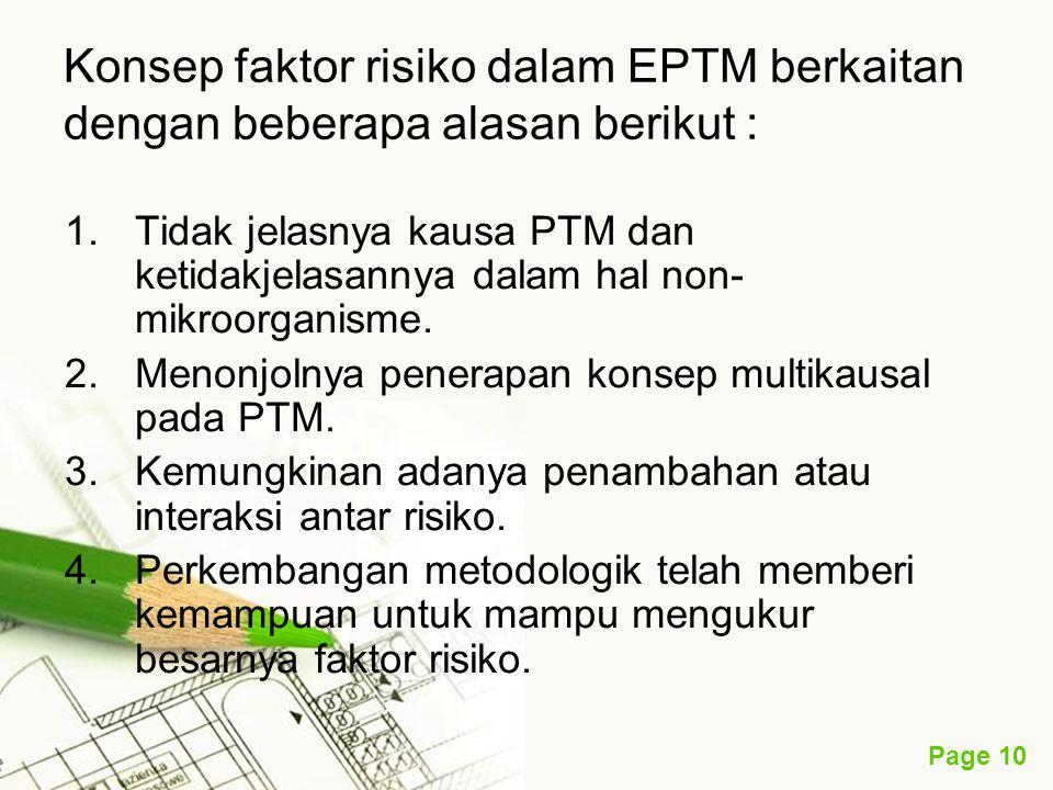 Page 10 Konsep faktor risiko dalam EPTM berkaitan dengan beberapa alasan berikut : 1.Tidak jelasnya kausa PTM dan ketidakjelasannya dalam hal non- mik