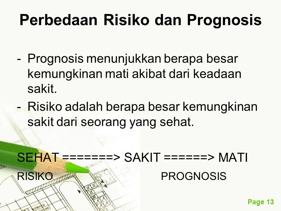 Page 13 Perbedaan Risiko dan Prognosis -Prognosis menunjukkan berapa besar kemungkinan mati akibat dari keadaan sakit. -Risiko adalah berapa besar kem