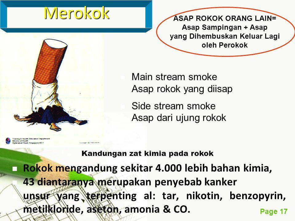 Page 17 Rokok mengandung sekitar 4.000 lebih bahan kimia, 43 diantaranya merupakan penyebab kanker unsur yang terpenting al: tar, nikotin, benzopyrin,