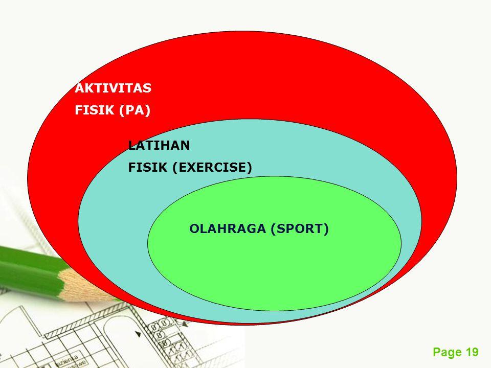 Page 19 AKTIVITAS FISIK (PA) LATIHAN FISIK (EXERCISE) OLAHRAGA (SPORT)