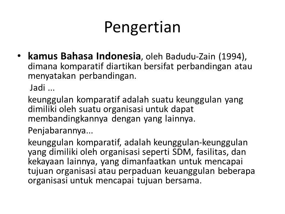 Pengertian kamus Bahasa Indonesia, oleh Badudu-Zain (1994), dimana komparatif diartikan bersifat perbandingan atau menyatakan perbandingan.