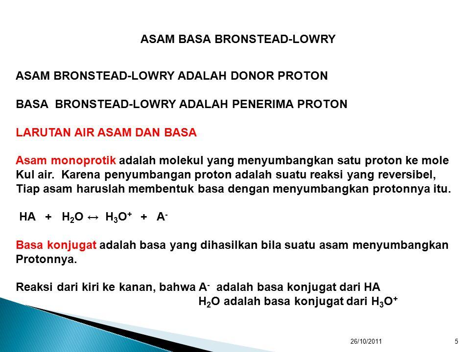 26/10/20116 Asam konjugat adalah asam yang dihasilkan bila suatu basa menerima sebuah Proton dari basa itu.