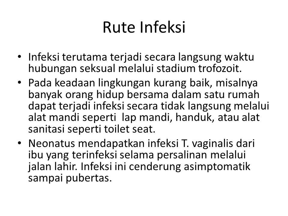 Rute Infeksi Infeksi terutama terjadi secara langsung waktu hubungan seksual melalui stadium trofozoit. Pada keadaan lingkungan kurang baik, misalnya