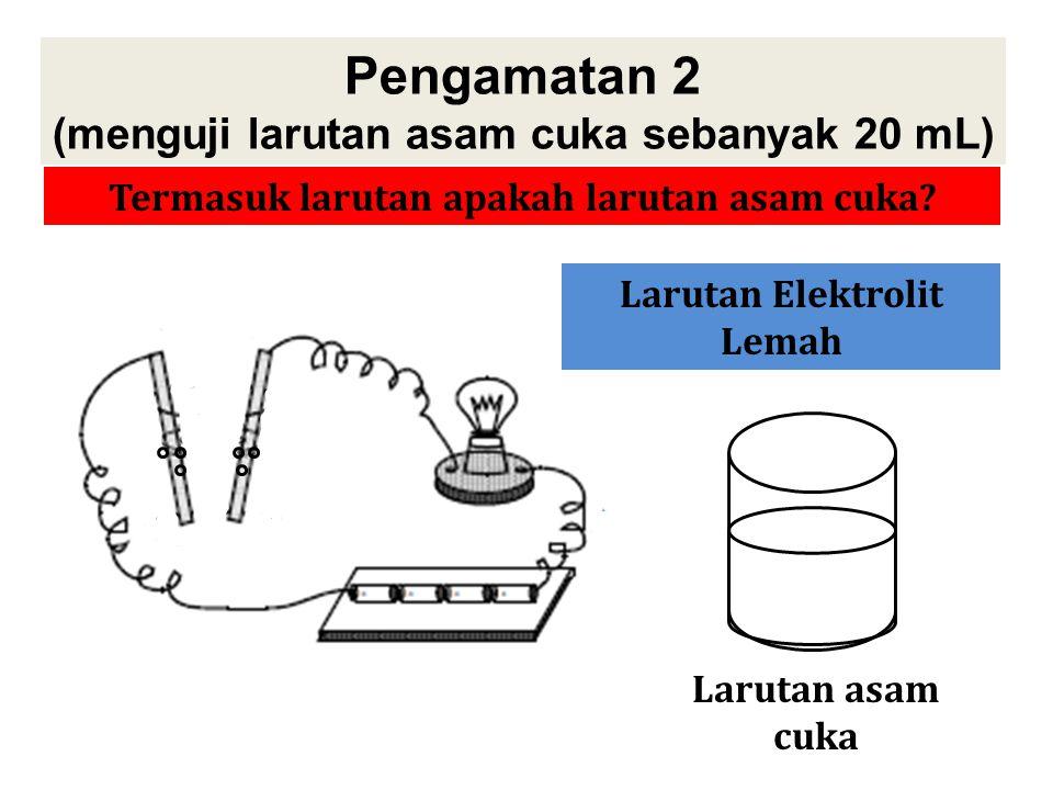 Pengamatan 2 (menguji larutan asam cuka sebanyak 20 mL) Mari kita amati dan diskusikan percobaan berikut! Larutan asam cuka Apa yang bisa kamu simpulk