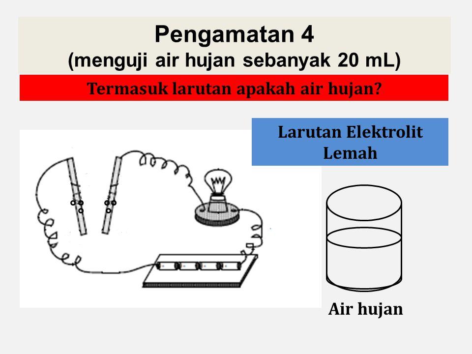 Pengamatan 4 (menguji air hujan sebanyak 20 mL) Mari kita amati dan diskusikan percobaan berikut! Air hujan Apa yang bisa kamu simpulkan?Termasuk laru