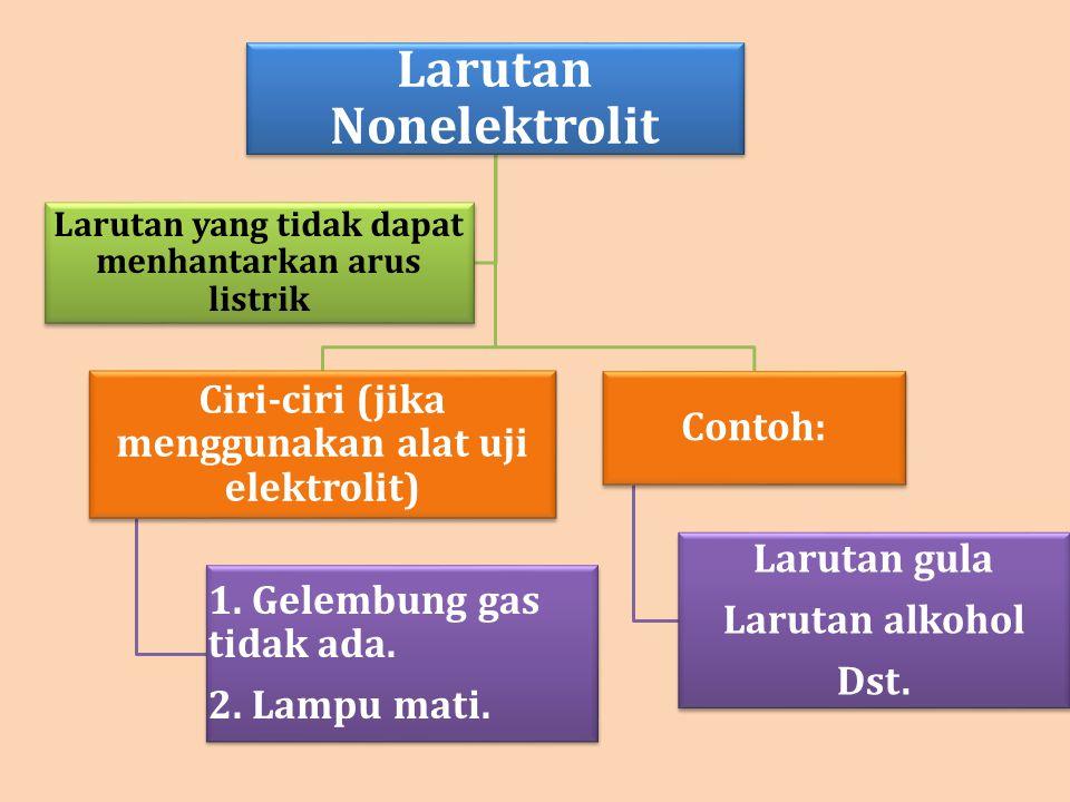 Larutan Nonelektrolit Ciri-ciri (jika menggunakan alat uji elektrolit) 1. Gelembung gas tidak ada. 2. Lampu mati. Contoh: Larutan gula Larutan alkohol