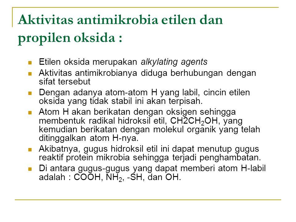 Aktivitas antimikrobia etilen dan propilen oksida : Etilen oksida merupakan alkylating agents Aktivitas antimikrobianya diduga berhubungan dengan sifa