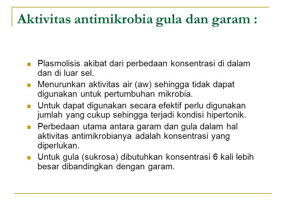 Aktivitas antimikrobia gula dan garam : Plasmolisis akibat dari perbedaan konsentrasi di dalam dan di luar sel. Menurunkan aktivitas air (aw) sehingga