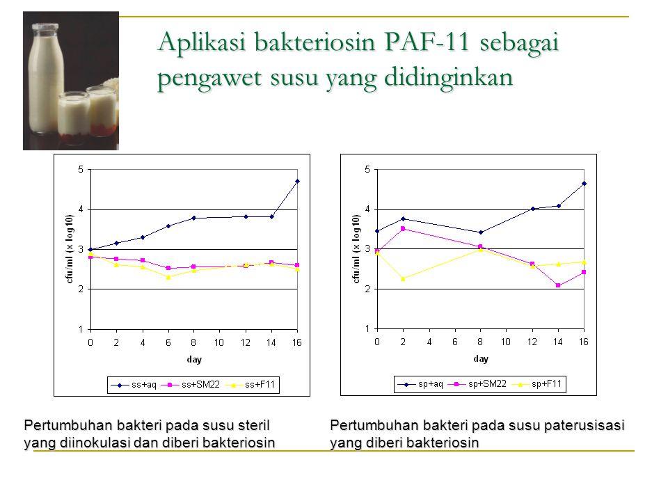 Aplikasi bakteriosin PAF-11 sebagai pengawet susu yang didinginkan Pertumbuhan bakteri pada susu steril yang diinokulasi dan diberi bakteriosin Pertum