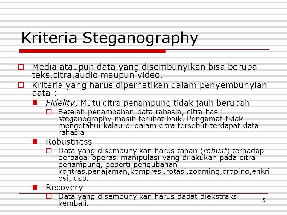5 Kriteria Steganography  Media ataupun data yang disembunyikan bisa berupa teks,citra,audio maupun video.  Kriteria yang harus diperhatikan dalam p