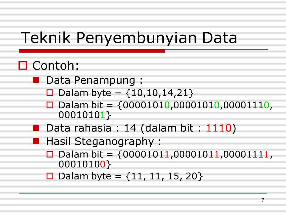 7 Teknik Penyembunyian Data  Contoh: Data Penampung :  Dalam byte = {10,10,14,21}  Dalam bit = {00001010,00001010,00001110, 00010101} Data rahasia