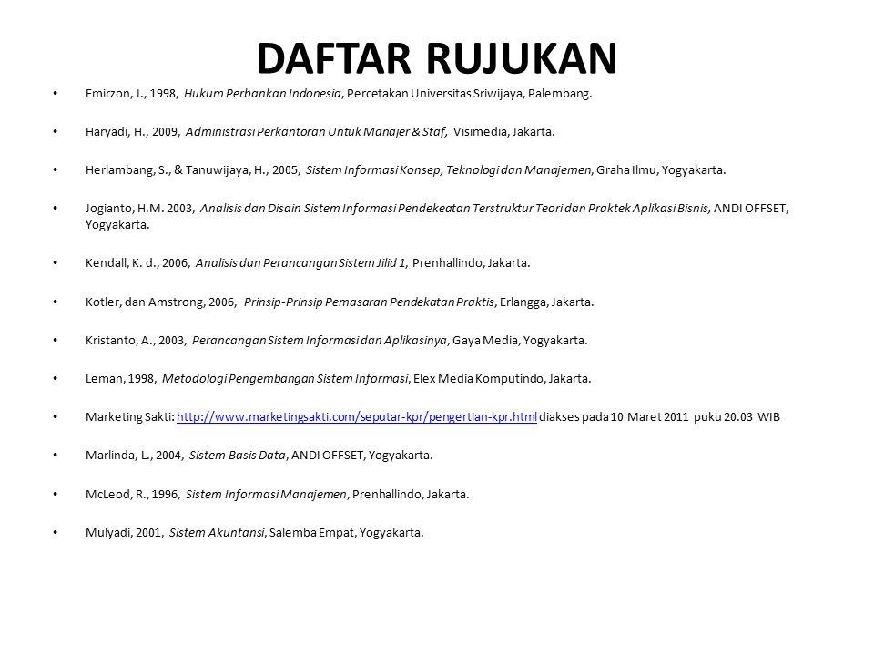 DAFTAR RUJUKAN Emirzon, J., 1998, Hukum Perbankan Indonesia, Percetakan Universitas Sriwijaya, Palembang. Haryadi, H., 2009, Administrasi Perkantoran