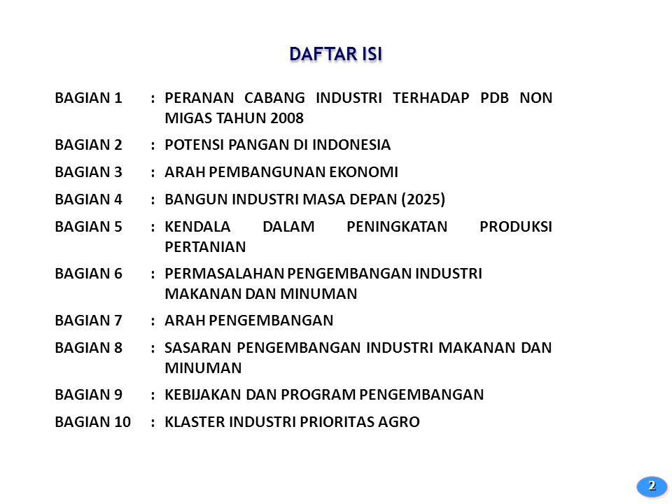 DAFTAR ISI 22 BAGIAN 1:PERANAN CABANG INDUSTRI TERHADAP PDB NON MIGAS TAHUN 2008 BAGIAN 2:POTENSI PANGAN DI INDONESIA BAGIAN 3:ARAH PEMBANGUNAN EKONOM