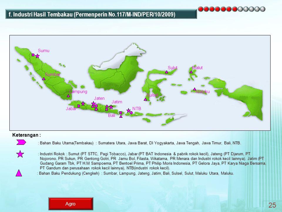 Agro : Bahan Baku Utama(Tembakau) : Sumatera Utara, Jawa Barat, DI Yogyakarta, Jawa Tengah, Jawa Timur, Bali, NTB. : Industri Rokok : Sumut (PT STTC,