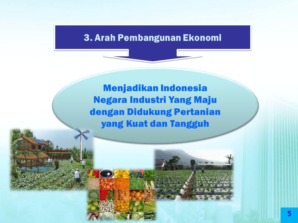 5 3. Arah Pembangunan Ekonomi Menjadikan Indonesia Negara Industri Yang Maju dengan Didukung Pertanian yang Kuat dan Tangguh